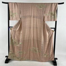 訪問着 美品 名品 霞 桜 絞り ピンク 袷 身丈166cm 裄丈68cm L 正絹 【中古】