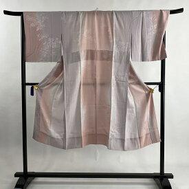 長襦袢 美品 秀品 地紋 縦ぼかし 薄紫 身丈131cm 裄丈70cm L 正絹 【中古】