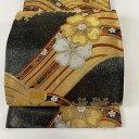 袋帯 美品 秀品 小袖波濤文 引箔手織 桜 金銀糸 箔 黒 六通 正絹 【中古】