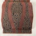 袋帯 美品 名品 紬地 幾何学 立沸 赤茶 六通 正絹 【中古】