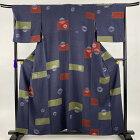 小紋 秀品 幾何学 絞り 灰紫 袷 身丈158cm 裄丈68cm L 正絹 【中古】