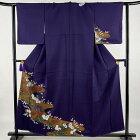 付下げ 美品 秀品 菊 霞 金銀彩 紫 袷 身丈157.5cm 裄丈62.5cm S 正絹 【中古】