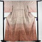付下げ 美品 秀品 やまと 草花 金銀彩 染め分け ピンク 袷 身丈159.5cm 裄丈62cm S 正絹 【中古】