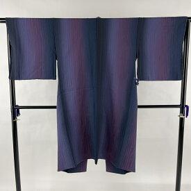 道中着 美品 逸品 落款あり 和装コート 地紋 縦ぼかし 青紫 身丈114.5cm 裄丈65cm M 正絹 【中古】