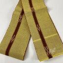 半幅帯 美品 秀品 ミンサー 縞 幾何学模様 黄色 綿 【中古】