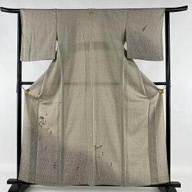 付下げ 美品 名品 一つ紋 草花 刺繍 ぼかし 灰茶 単衣 身丈161cm 裄丈64cm M 正絹 【中古】