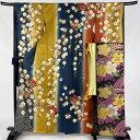 振袖 美品 秀品 袋帯フルセット 桜 蝶 金糸 染め分け 藍色 袷 身丈163cm 裄丈68cm L 正絹 【中古】