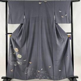 訪問着 美品 優品 落款あり 一つ紋 貝合わせ 鳥 灰色 袷 161cm 63.5cm S 正絹 【中古】