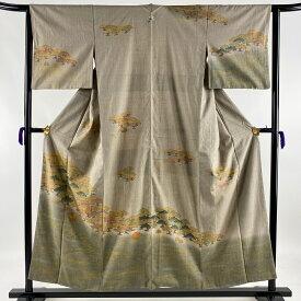 訪問着 名品 一つ紋 紬地 松 波 金彩 染め分け 灰色 袷 身丈154.5cm 裄丈62.5cm S 【中古】