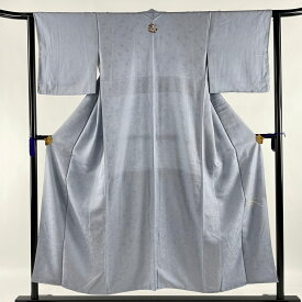 色無地 美品 優品 一つ紋 地紋 青灰色 袷 152cm 62.5cm S 正絹 【中古】