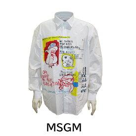 MSGM エムエスジーエム メンズ シャツ カッターシャツ プリントシャツ ホワイト コットン msgm 2840ME12G