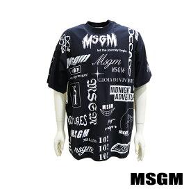 【MSGM】エムエスジーエム メンズ 半袖Tシャツ 2840MM101 ブラック マルチロゴプリント オーバーサイズ ビックシルエット