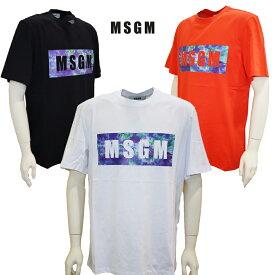 MSGM エムエスジーエム メンズ Tシャツ 半袖Tシャツ 2840MM234 オレンジ ブラック ホワイトピン オーバーサイズTシャツ スクエアーロゴ