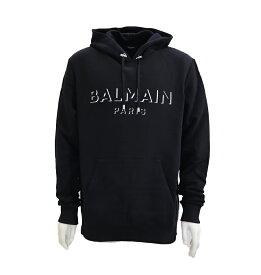 BALMAIN balmain バルマン メンズ スウェットシャツ フーディ パーカー プルオーバーパーカー ロゴ サイドファスナー ブラック