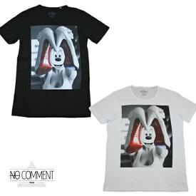 【no comment paris】ノーコメントパリ 半袖Tシャツ メンズ ブラック/ホワイト クルーネック 丸首