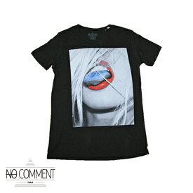 【no comment paris】ノーコメントパリ 半袖Tシャツ メンズ ブラック クルーネック 丸首