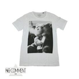 【no comment paris】ノーコメントパリ 半袖Tシャツ メンズ ホワイト クルーネック 丸首