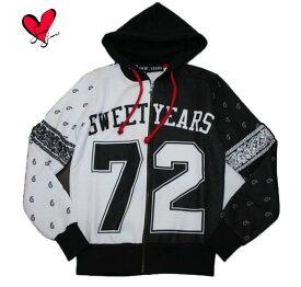 【SWEET YEARS】 スイートイヤーズ  メンズ スウェット パーカー ジップアップ フード付き ペイズリー 「72」 裏起毛 SYU1577