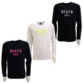 BEATO ベアート メンズ ロングTシャツ 長袖 丸首 エンボスロゴ 3Dロゴ ブラック ホワイト