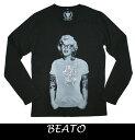 【BEATO】beato ベアート 長袖Tシャツ モノトーン系 タトゥー パロディー  Vネック  ブラック