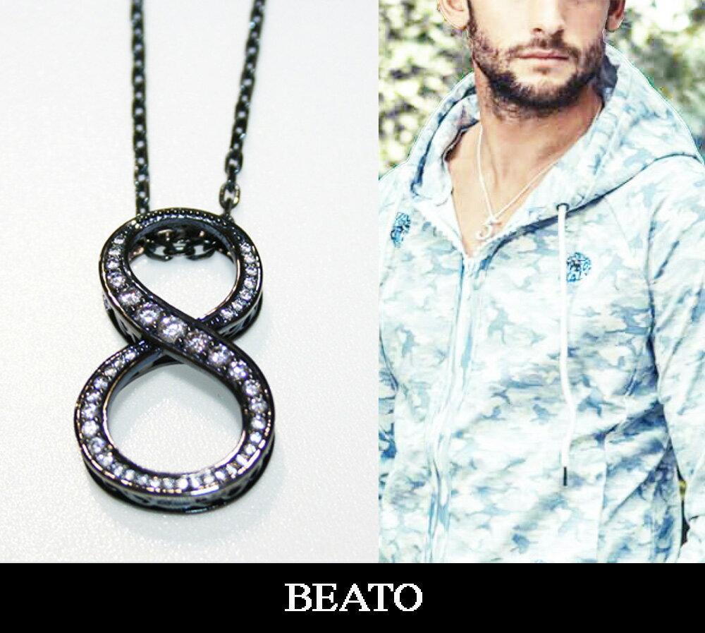 【BEATO】ベアート ナンバーネックレス NO8 シルバーネックレス ブラック