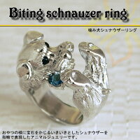 一心不乱に宝石をおやつの様にかみかみするわんこ、シュナウザーの指輪です。