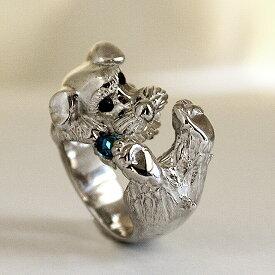 宝石を噛むシュナウザーリングBiting schnauzer ring 送料無料 宝石 かみかみ わんこ 指輪ロンドンブルー トパーズ アメシスト ガーネット シュナウザー 犬貴金属 シルバー シュナ しゅな 小さなひげ プレゼント dr-08