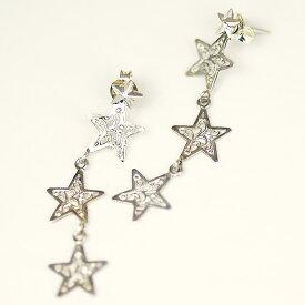 3連星の2wayピアス【送料無料】2-way Tri-Star Pierce earrings唐草スターを取り外して別のピアスに着けられる多用途ピアス 星空 宇宙 星座pi-10