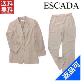エスカーダ レディース スーツ ESCADA テーラージャケット×センタープレスパンツ ロゴボタン 裾スリット入り (美品・即納) 【中古】 X3801