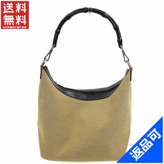 Designer Goods BRANDS  Gucci by GUCCI shoulder bag handbag mens-friendly  bamboo light khaki x Black canvas x leather x bamboo (compatible)  non-defective ... 9f6963d11007f