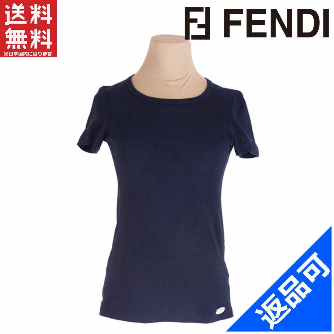 フェンディ レディース Tシャツ FENDI ♯42サイズ ロゴプレート付き セレリア クルーネック カットソー 激安 人気 【中古】 X7141