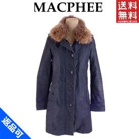 [半額セール]マカフィー MACPHEE コート ボーダー柄ライナー付き ♯38サイズ 衿ファー シングルジップ 中古 X7633