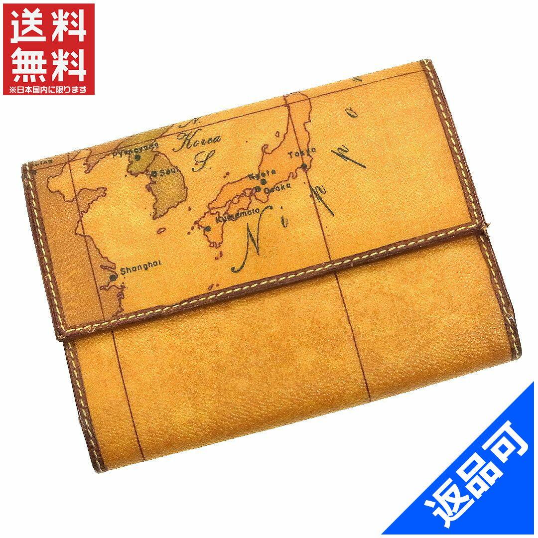 プリマクラッセ 財布 レディース (メンズ可) 二つ折り財布 PRIMA CLASSE 地図柄 三つ折り財布 激安 即納 【中古】 X10333