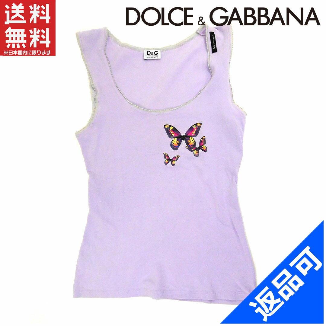 ドルチェ&ガッバーナ レディース カットソー DOLCE&GABBANA カットソー 蝶 タンクトップ 即納 【中古】 X10990