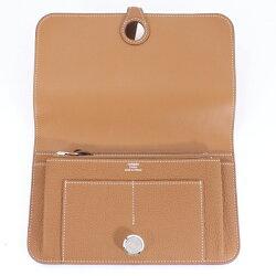 展示未使用HERMESエルメスドゴンGMゴールドトゴT刻二つ折り長財布
