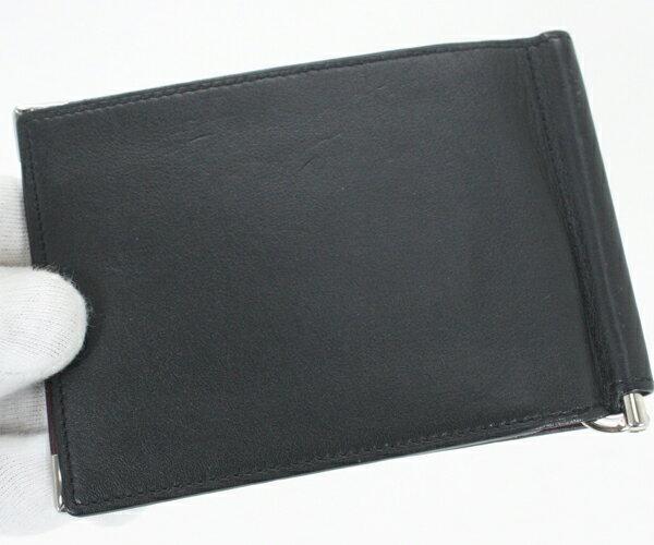 美品 Cartire カルティエ マネークリップ付き二つ折り財布 マストライン 黒 ブラック レザー メンズ【中古】