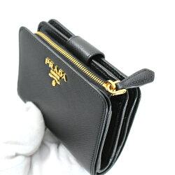 未使用PRADAプラダコンパクト二つ折り財布黒ブラックサフィアーノレディース1ML018【中古】