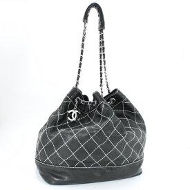 ab1530d814e1 超美品 CHANEL シャネル ワイルドステッチ 巾着ショルダーバッグ 黒 ブラック 白ステッチ ココマーク