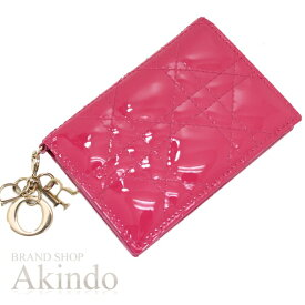 ディオール カードケース カナージュ エナメル ピンク ゴールドチャーム付 Christian Dior レディース【中古】