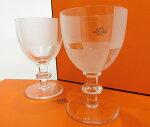 HERMES・エルメスチェック柄タンブラーグラスワイングラスペアセットすりガラスブランド未使用品18-9059