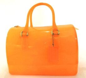 667b4c8f4fae 中古 FURLA・フルラ CANDY BAG/キャンディ バッグ ビニールボストンバッグ オレンジ系 かわいい 春夏 プール/ビーチ レディース  ブランド 特価品 中古 19-5002