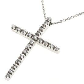 スタージュエリー ネックレス クロス 十字架 ダイヤモンド 0.21ct K18ホワイトゴールド レディース STAR JEWELRY 【中古】 R00512005
