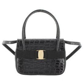 フェラガモ 2WAYハンドバッグ クロコ調 黒 ブラック ヴァラ リボン BA217201 新品同様 バッグ
