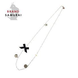 Dior ディオール スター リボン シルバー メタル ネックレス【中古】 レディース 102564