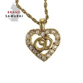 Dior ディオール ヴィンテージ CDロゴ ラインストーン ハート ゴールド メタル ネックレス ペンダント【中古】 レディース 102570