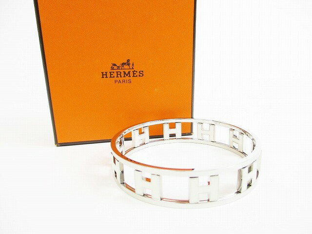 【新品仕上げ済み】HERMES エルメス ロンドアッシュ バングル ブレスレット リバーシブル ベージュ×シルバー 【中古】