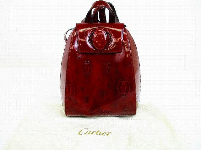 【新品同様】 Cartier カルティエ ハッピーバースデー カーフレザー リュックサック バックパック ボルドー 【中古】