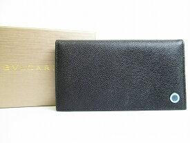【展示未使用】ブルガリ BVLGARI ブルガリブルガリ グレインレザー 2つ折り 長財布 メンズ レディース 黒 【中古】