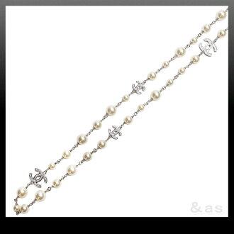 香奈儿 CHANEL A36121 水钻 CC マークパールロングネックレス 珍珠 / 金属银品牌新新项链