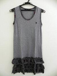 HYSTERICGLAMOURヒステリックグラマースカル刺繍裾花柄フリルノースリーブチュニックシャツグレーレディースFREE